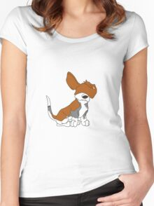 Cartoon Basset Hound Can't See  Women's Fitted Scoop T-Shirt