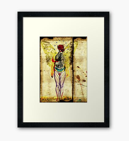 man,nature and city on fire  Framed Print