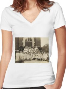 GRANDMA ALBEE FIRST HOLY COMMUNION Women's Fitted V-Neck T-Shirt