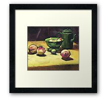 The Green Collander, oil painting on board. Framed Print