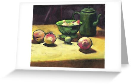 The Green Collander, oil painting on board. by Roz McQuillan