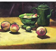 The Green Collander, oil painting on board. Photographic Print