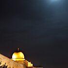 Moon rises, Al-Aqsa Mosque, Israeli-occupied East Jerusalem by Michael Marten