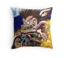 Werewolf on Wheels Throw Pillow