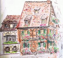 Colmar houses, colored pencil on paper by Regina Valluzzi