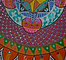 Aztec Compass-detail of acrylic painted slab formed clay wall hanging by KFStudios