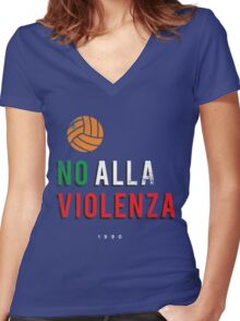 NO ALLA VIOLENZA Women's Fitted V-Neck T-Shirt