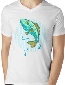 fish jumping out of water Mens V-Neck T-Shirt