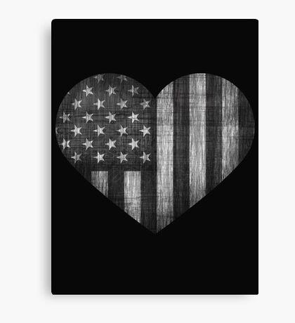 Black/White American Heart Canvas Print