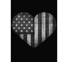 Black/White American Heart Photographic Print