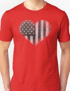 Black/White American Heart Unisex T-Shirt