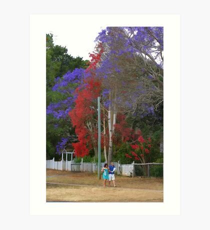 A quiet walk in a country town Art Print