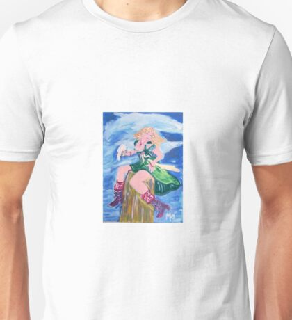 Blonde Pirate Woman with Red Boots Unisex T-Shirt