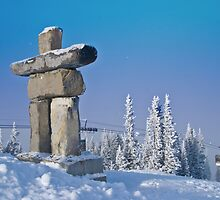 Inukshuk on Whistler mountain, Canada. by Emil Akperov