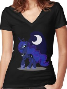 Princess Luna with cutie mark Women's Fitted V-Neck T-Shirt