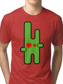 Funny digital green alien Tri-blend T-Shirt