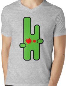 Funny digital green alien Mens V-Neck T-Shirt