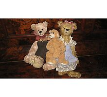 Three Teddy Bears on a Piano. Photographic Print