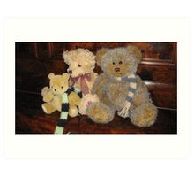 Boy & Girl Teddy with Pooh Bear. Art Print