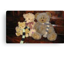 Boy & Girl Teddy with Pooh Bear. Canvas Print