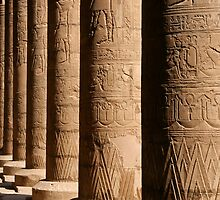Columns of hieroglyphics, Edfu Temple of Horus by 98octane