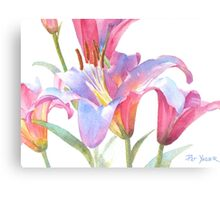 Watercolor Lily Close-up Canvas Print
