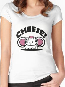 "Funny ""Say Cheese"" mouse Women's Fitted Scoop T-Shirt"