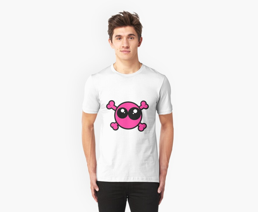 Funny pink skull and bones by queensoft