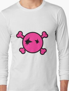Funny pink skull and bones Long Sleeve T-Shirt
