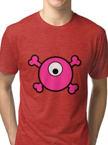 Funny pink cyclops skull and bones Tri-blend T-Shirt