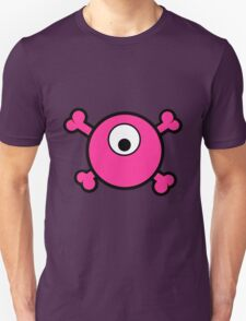 Funny pink cyclops skull and bones Unisex T-Shirt