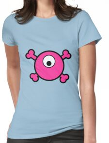 Funny pink cyclops skull and bones Womens Fitted T-Shirt