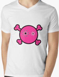 Funny pink skull and bones Mens V-Neck T-Shirt