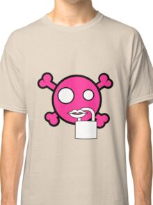 Funny pink skull and bones locked mouth Classic T-Shirt