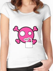 Funny pink skull and bones locked mouth Women's Fitted Scoop T-Shirt