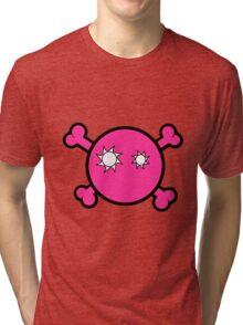 Funny pink skull and bones Tri-blend T-Shirt