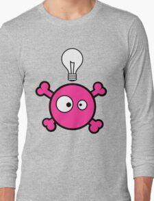 Funny pink skull and bones with ideea light bulb Long Sleeve T-Shirt
