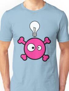 Funny pink skull and bones with ideea light bulb Unisex T-Shirt