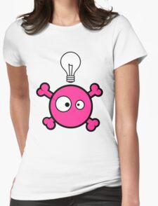 Funny pink skull and bones with ideea light bulb Womens Fitted T-Shirt