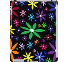 Colorful Retro Flowers on Black Oil Pastel iPad Case/Skin
