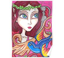 Retro, Fantasy big eyed Fairy artwork Poster