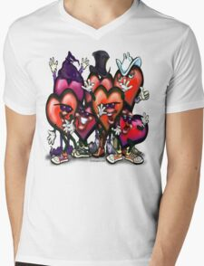 Hearts Party Mens V-Neck T-Shirt