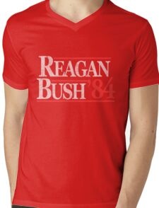 Vintage Reagan Bush 1984 T-Shirt Mens V-Neck T-Shirt