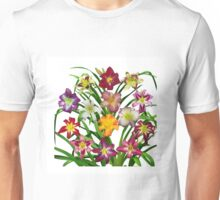 Display of Daylilies II with white background Unisex T-Shirt