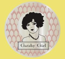 1920s Gatsby Flapper Girl Portrait (pink and pearl) One Piece - Short Sleeve