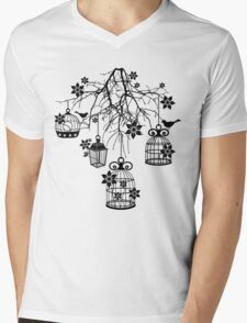 Bird Cage Chandelier Mens V-Neck T-Shirt