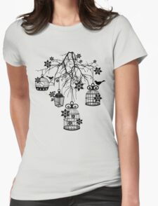 Bird Cage Chandelier Womens Fitted T-Shirt