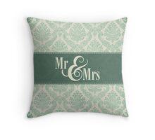 """Green Damask """"Mr & Mrs"""" Throw Pillow"""