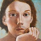 Young man resting chin on hand by ipalbus-art