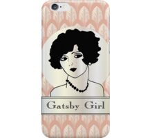 1920s Gatsby Flapper Girl Portrait (pink and pearl) iPhone Case/Skin
